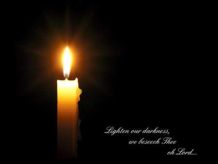 lighten: Evening prayer - candle long exposure for rays Stock Photo