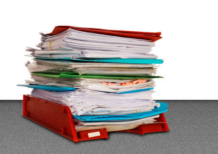 Overwork or bureaucracy - in-tray with lots of paper, folders etc Stock Photo - 22108848