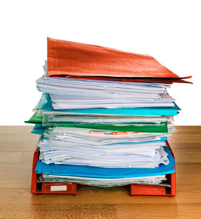 Stack of paperwork in in-tray, white background Stock Photo - 22108849