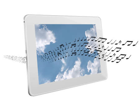 airwaves: Music on the airwaves or on-line, concept isolated Stock Photo