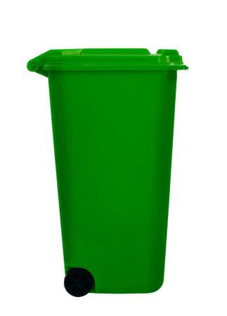 wheelie bin: Green wheely bin aka wheelie bin, isolated over white Stock Photo