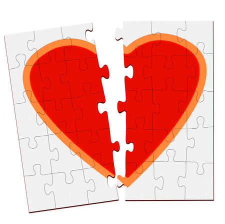 Jigsaw puzzle heart split in two pieces photo
