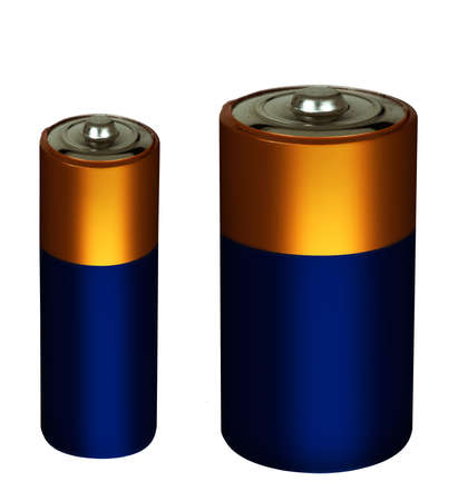 Household batteries, isolated over white background photo