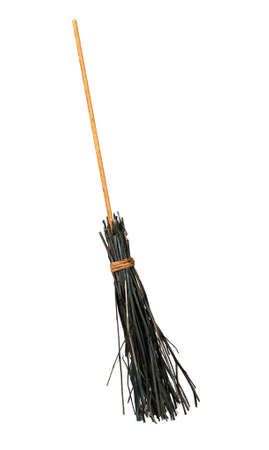Halloween style besom, twig broom - isolated