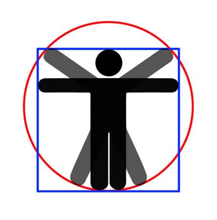 uomo vitruviano: Parodia moderna di uomo vitruviano