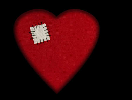 broken relationship: Patch on fabric heart - love background