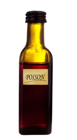 veneno frasco: Botella de veneno de cristal vieja, aislada