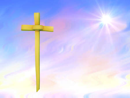 Easter background with beautiful sky and palm leaf cross photo