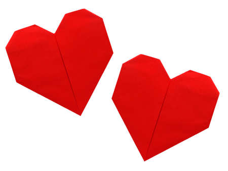 Origami paper hearts isolated photo