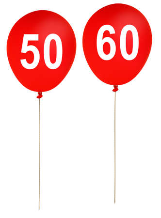 Red balloons for ages 50 fifty, 60 sixty - others available photo