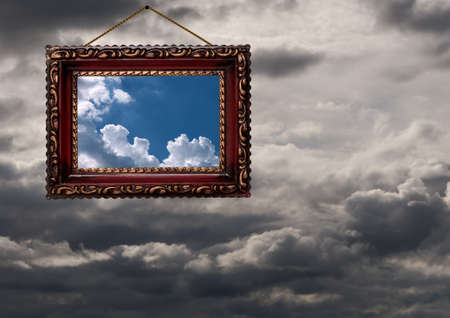 hard times: Concept  window on the weather or looking to see the best in hard times  Stock Photo