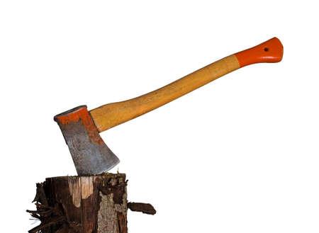Old axe aka ax in wood chopping block  Real or metaphor   photo