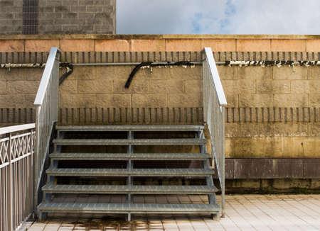 galvanised: Strange  Steps to nowhere, dead end  Urban scene  Stock Photo