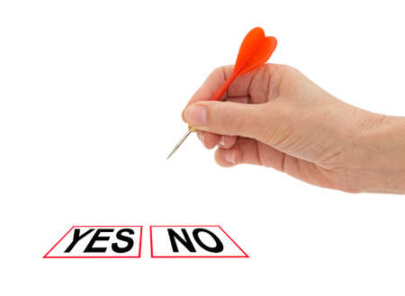 yes or no to euro: Yes no decision, hand with dart on white  Referndum, vote etc Stock Photo