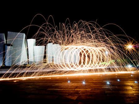 massa: Long exposure light paining near public monument,Le Vele, Marina di Carrara, Tuscany, Italy