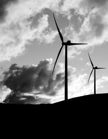 Wind turbine  Clean energy etc   Monochrome  photo