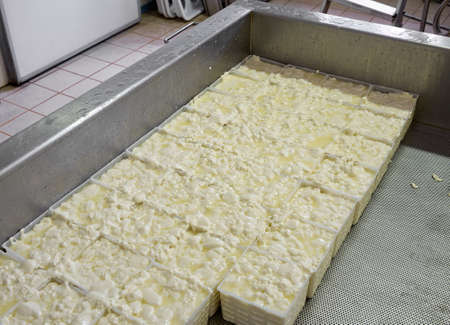 the draining: Soft cheese being made  Draining   Stock Photo