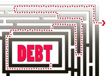 way out: Exit here  Way out of debt with direction