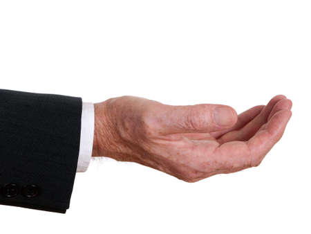 empty handed: Closeup senior man hand offering or asking  White background  Stock Photo