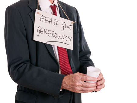 bedraggled: Bankrupt business manmaybe - or ageism, older people are discrimated against at work Stock Photo