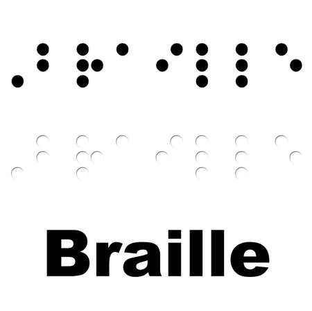 The word Braille translated  Uncontracted form  Banco de Imagens