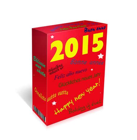 gaelic: Happy New Year box with many languages Portuguese, Welsh, Hungarian, French, Scottish Gaelic, German,Irish,Italian,Spanish, English,Finnish  Stock Photo
