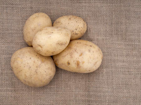 staple food: Staple food  Potatoes on old hessian fabric - jute, burlap, sacking  Stock Photo