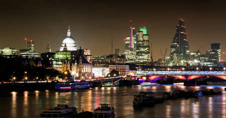 saint pauls cathedral: Beautiful night skyline of London. St Pauls Cathedral, Thames and City. NB no Eye.!