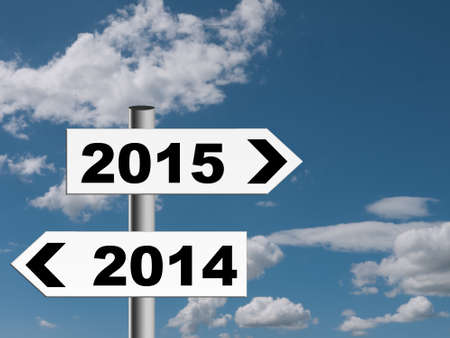 New year sign posts. Blue sky. Useful business financial year end etc. Standard-Bild