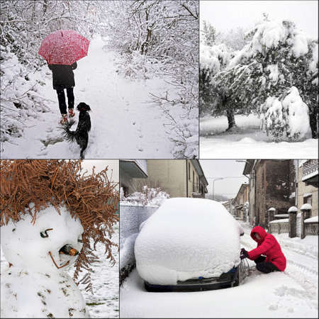 Winter snow scenes collage. Snowchains, snowman,walking and trees. photo