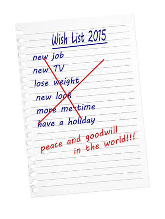 goodwill: Wish list for Christmas, New Year. Peace and Goodwill. Stock Photo