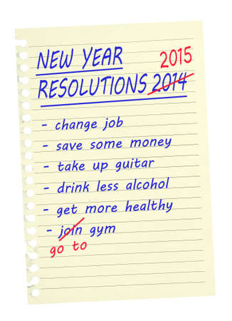 New Year Resolutions, same again, pale paper, white background. photo