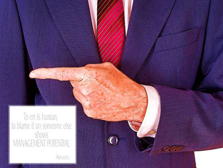 accuses: Blame saying. Man in suit pointing. Filtered image.