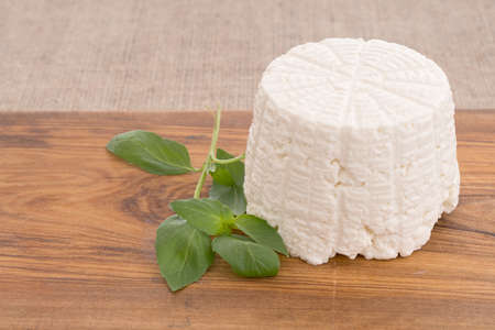 ricotta cheese: Farm produced frsh ricotta with basil. Stock Photo