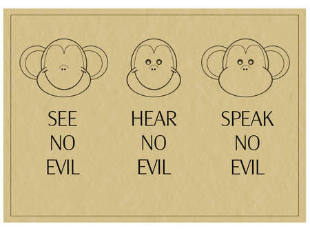 Popular saying. See no evil etc. Three Wise monkeys.