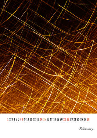 customisable: Calendar page 2105 - February. Easily customisable template. Golden sparks abstract.