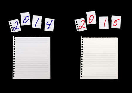 yearly: Torn paper pieces. Year on year comparison - business, financial analysis etc Stock Photo