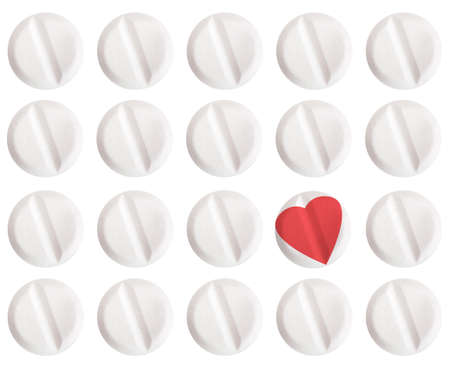 heartache: On white. Heart tablet, medical or metaphorical cure for heartache..