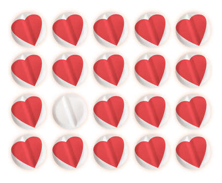 metaphorical: Heart pills, tablets. Medical or metaphorical cure for love. Stock Photo