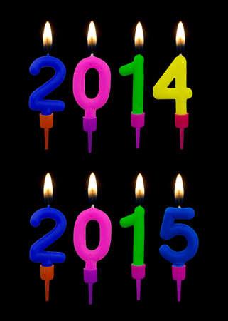 2014, 2015 real birthday cake candles. Christmas, Jesus birthday. photo