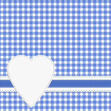 gingham: Retro fifties heart on gingham background, blue Stock Photo
