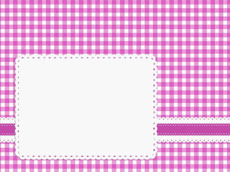 fifties: Pretty fifties gingham background with copyspace label, ribbon Stock Photo
