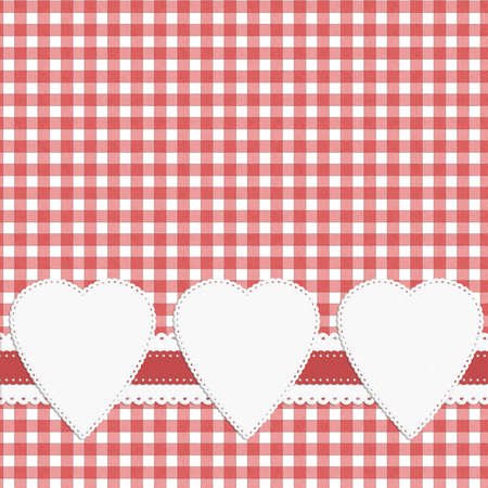 fifties: Retro fifties gingham style background with hearts Stock Photo