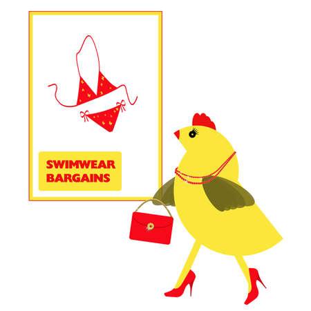 Spring chicken choosing swimwear for holiday, vacation. Itsy bitsy bikini.