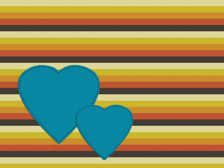 the seventies: Seventies retro bckground with patch hearts.