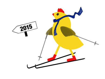 ageing: Young at heart. Spring chicken on skis - downhill. active senior concept. Stock Photo