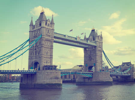 filtered: Tower Bridge, London, UK. Retro filtered image.Logos etc removed. Stock Photo