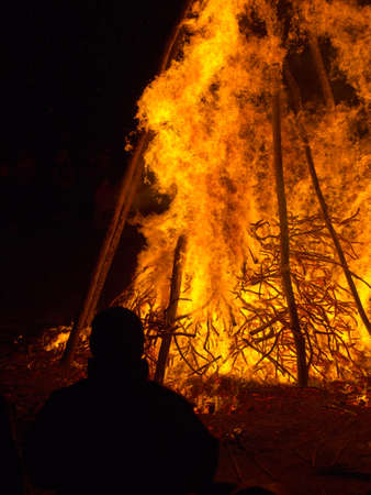 guy fawkes night: Guy Fawkes Night maybe. Person, man, watches bonfire.