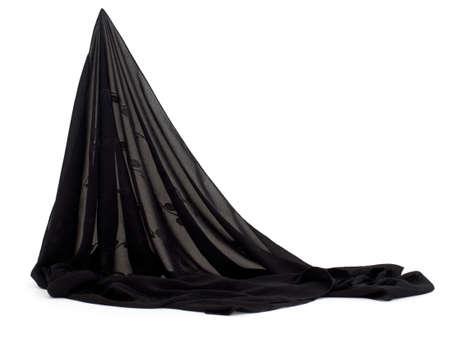 draped: Light fabric. Black, Draped. Scarf, veil etc.