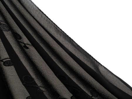 draped: Light black fabric, headscarf, veil. Draped to reveal white background. Stock Photo